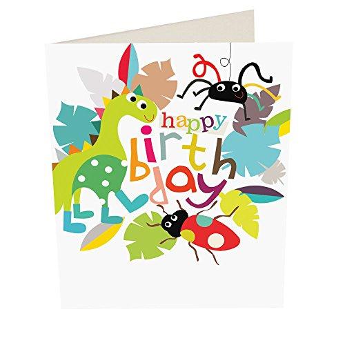 """Caroline Gardner fru014""""dinosaurio y Bugs tarjeta de felicitación de cumpleaños"""