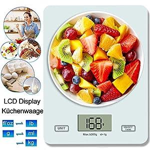 Küchenwaage Digital Digitalwaage Digitale Küchenwaage Professionelle Waage Electronische küchenwage, Haushaltswaage mit LCD Display-wunderbare Präzision auf bis zu 1g - 5kg Maximalgewicht weiß