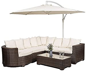 Marbella Rattan Garden Furniture 8 Seater Corner Sofa Set with Glass top Table + Seat Cushions + Umbrella / Parasol + Waterproof Dust Cover Garden Patio Conservatory Lounge Furniture *12 Months Warranty* (259 x 218 x 66 cm) (minimal Assembly)