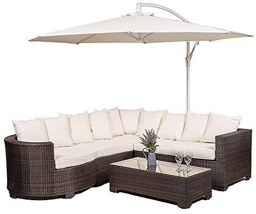 Marbella Rattan Garden Furniture 8 Seater Corner Sofa Set With Glass Top  Table + Seat Cushions + Umbrella / Parasol + Waterproof Dust Cover Garden  Patio ...