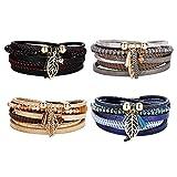 #6: Rrimin Multilayer Alloy Leaf Leather Bracelet Magnetic Clasp Charm Jewelry(Blue)