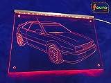 """LED Leuchtschild Gravur Detailzeichnung für Kfz Fahrzeug Tuning Liebhaber für """"VW Corrado G60 16V"""" rot opak auf Plexiglas transparent in wählbarer Farbe mit Steckernetzteil 230V ©faunz"""