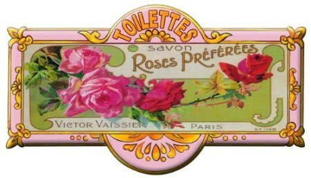 plaque metal de porte toilettes 8x20 cm savon aux roses-mp177