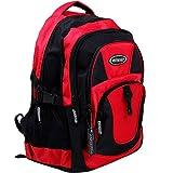 Monzana Rucksack Laptoprucksack Notebookrucksack Backpack Schulrucksack Schulranzen Freizeitrucksack 34 l Boden- und Innenfachpolster wasserabweisend strapazierfähig 7 Fächer rot-schwarz