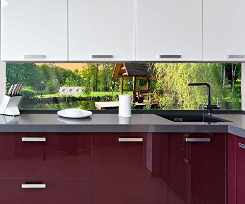 Küchenrückwand Gartenlaube an kleinem See Nischenrückwand Spritzschutz Design M0694 260 x 50cm (B...