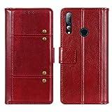 EUDTH HTC Desire 19+ Hülle, Leder Tasche Brieftasche Handyhüllen Kartenfach Standfunktion Flip Wallet Case Schutzhülle Kompatibel für HTC Desire 19+ -Rot