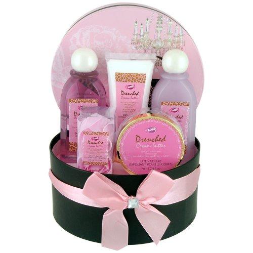 Gloss! Glamour - Cesta de baño regalo, vainilla y jengibre, color rosa