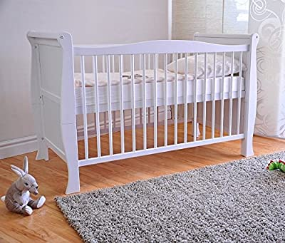 FREE UK Delivery ? White Solid Wood Baby Cot Bed & Deluxe Foam Mattress Converts into a Junior Bed ? 3 Position ? produced by Extreme Furniture - quick delivery from UK.