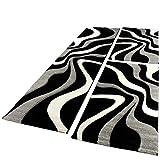 Paco Home Bettumrandung Läufer Teppich Trendig Modern Grau Schwarz Weiss Läuferset 3Tlg, Grösse:2mal 80x150 1mal 80x300
