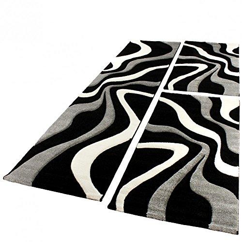 Bettumrandung Läufer Teppich Trendig Modern Grau Schwarz Weiss Läuferset 3Tlg, Grösse:2mal 60x110 1mal 80x300