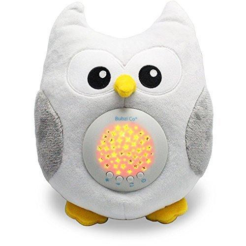 Bubzi Co Baby-Schlafhilfe & Nachtlicht & Beruhigende Sound-Maschine & Babyparty-Geschenk, LED-Sternenprojektor & tragbare Stofftier-Eule mit 10 beliebten Schlafliedern & Kinder-Musik zum Einschlafen, Kuscheltier