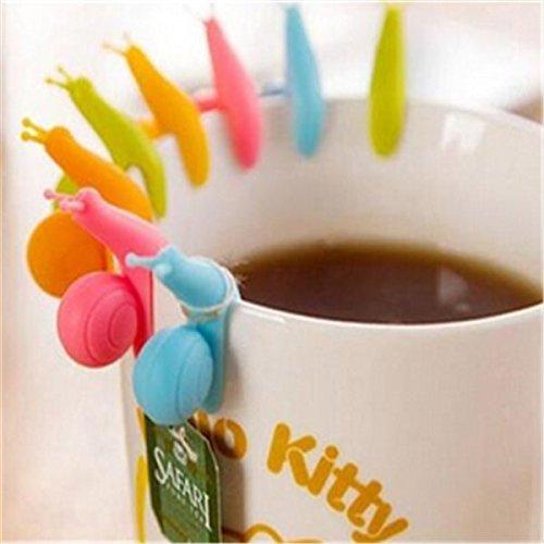 Mini-Teebeutelhalter aus Silikon, Schnecken, zum Aufhängen an der Tasse, 5 Stück