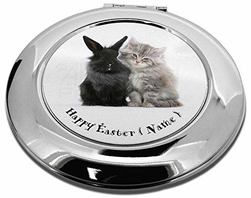 personalisierbar Kaninchen + Cat Make-up Rund Taschenspiegel Weihnachten (Make Kaninchen Up)