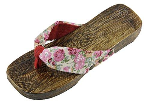 Tongs de Plage et Piscine Sandales Solide Paulownia Chaussures en Bois Antidérapage Chaussons Santé Confortable Pantoufles d'été pour Femmes Rose
