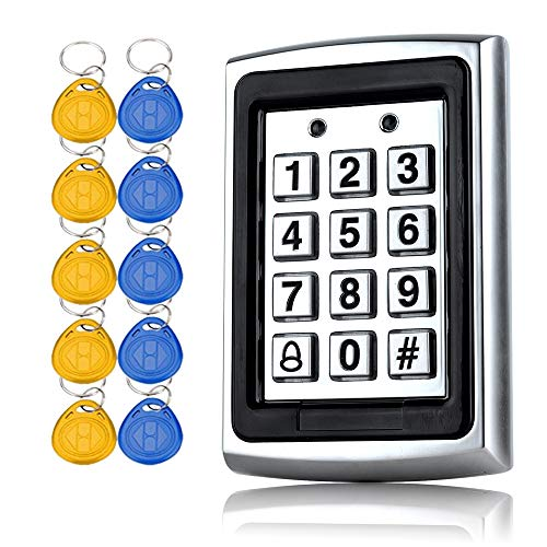 YAVIS Metall Codeschloss Türöffner Zugangskontrolle Tastatur 125 KHz EM Kartenleser Weigang 26 + 10 Schlüsselanhänger RFID Nähe Türeinstieg Access Control System