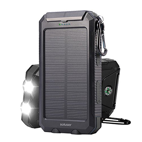 soluser 10000 mAh Tragbares Solar Ladegerät externe Backup Akku Pack Ladegerät, IP67 Wasserdicht 2 USB Anschlüsse Handy Solar Power Bank Ladegerät mit 2LED Taschenlampe, Karabiner und Kompass (Outdoor-power-pack)