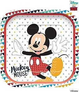 Procos plato Cuadrado 23cm 4unidades Mickey Mouse Awesome, Multicolor, 5pr89001