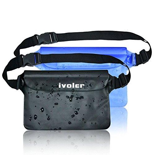 iVoler [2 Unidades] Funda Bolsa Impermeable con Triple Cierre Hermético y Cinta Ajustable/Bolsa Estanca/Bolsas de Deporte Aire Libre para Móvil, Cámara, Efectivo, Mp3, Pasaporte,etc. (Negro+Azul)