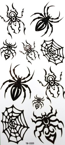 YiMei Wasserdicht temporäre Tattoos schwarze Spinne Insekt