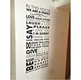 Dans cette maison famille citation stickers muraux règles de la famille vinyle stickers muraux mutuelle citation amour affiche murale décoration 42x98cm...