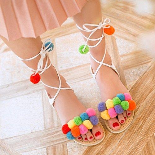 TAOFFEN Damen Sommer Schnurung Colorful Pom-Pom Slingback Flach Sandal Schuhe Weiß