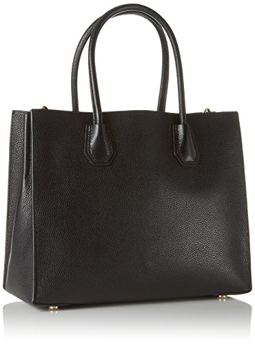 Nuova collezione Borse Donna MICHAEL KORS mercer a mano e a tracolla removibile con lunghezza regolabile, in pelle saffiano, ciondolo con logo a vista, una tasca interna con zip, tinta unita Black Leather
