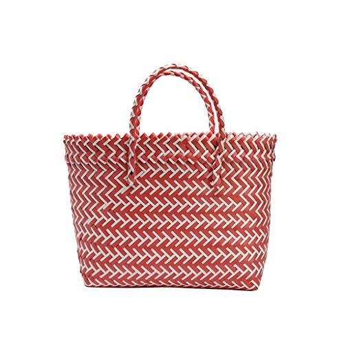 Mitlfuny handbemalte Ledertasche, Schultertasche, Geschenk, Handgefertigte Tasche,Frauen-Webart-Strand-Taschen-Einkaufskorb-gestreifte handgestrickte Handtaschen-Totes