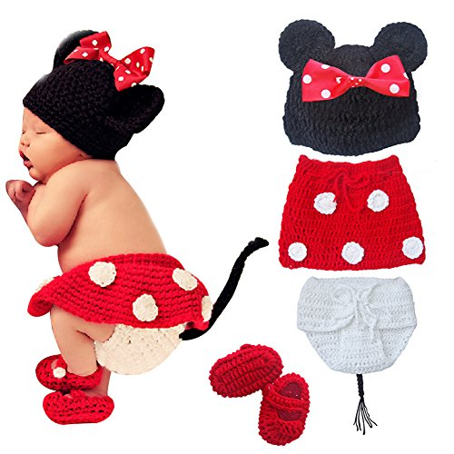 Tiaobug Fotoshooting Neugeborene Baby Kleidung Strick Kostüm Prop Gestrickt Mütze Hose 4tlg. Minnie Set