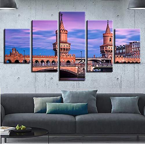 mmwin Wohnzimmer Wandkunst Bilder Dekor Druck 5 Stücke Vintage Gebäude Und Brückentürme Landschaft Leinwand s Modulare Poster (5 Billy Halloween)