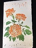 Handgedruckte Klappkarte mit Umschlag aus Büttenpapier 'Rose 2'
