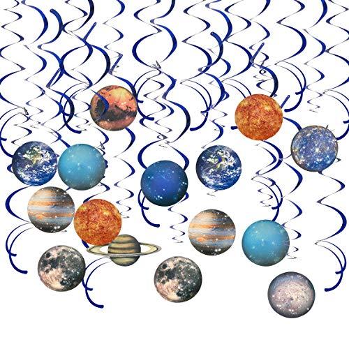 Hangnuo 30 Stück Solarsystem Wirbel – Weltraum Party Planet Hängedeko für Jungen Mädchen Kinder Solarsystem Party Dekoration Platz Motto Geburtstag Party Zubehör