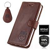 SURAZO APPLE iPhone X - Eule - RFID Premium Ledertasche Schutzhülle Wallet Case aus Echtesleder mit Kreditkarten/Notizen Fachern Farbe Nussbraun Nubuk Kollektion Apple iPhone X