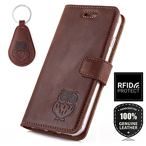 HUAWEI MATE 10 LITE - Eule - RFID Premium Ledertasche Schutzhülle Wallet Case aus Echtesleder mit Kreditkarten / Notizen Fachern Farbe Nussbraun von Surazo® Nubuk Kollektion Huawei MATE 10 LITE