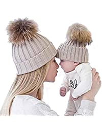 Gorros de punto Sannysis 2PCS gorro de invierno para madre y bebé bf20ab4342b