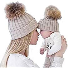 Gorros de punto Sannysis 2PCS gorro de invierno para madre y bebé 8d634cb2799