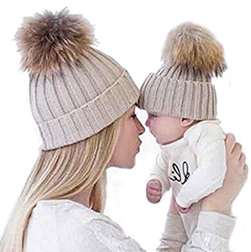 Gorros punto Sannysis 2PCS gorro invierno madre bebé