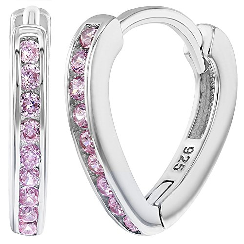 In Season Jewelry Teens Mädchen - Reifen Ohrringe Klein Lang 925 Sterling Silber Rosa CZ Zirkonia 10mm