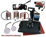 Transferpresse T-shirt Drucker Druckmaschine 8 in 1 Multifunktions Hitze Presse Printer Transferpress Überführungsmaschine Mug Plate Swing Maschine Sublimation Transferdrucker für Platten Becher