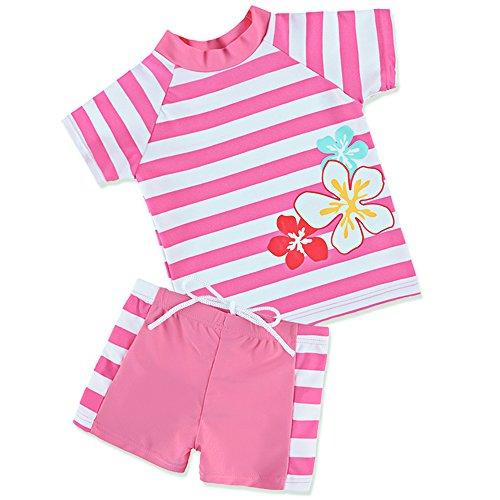 HUANQIUE Badeanzug Mädchen Junge Unisex Bademode mit UV-Schutz Anzüge Streifen Blüte HotPink 128/134