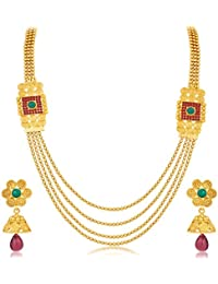 Sukkhi Astonish Jalebi 4 String Gold Plated Necklace Set For Women
