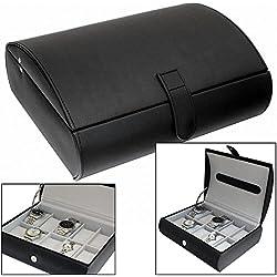 Gents Black Textured Faux Leather 10 Watch Storage Case Organiser Box