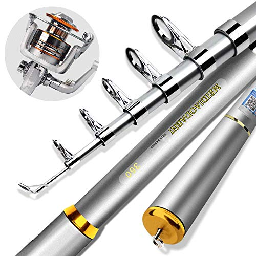 AXDNH Teleskop-Angelrute und Reel Combos Komplettes Kit, tragbare Carbon-Spinnrutenstange Glatter und Nicht fischender Schnurführungsring Metallsitz mit rutschsicherem Griff,3.6M