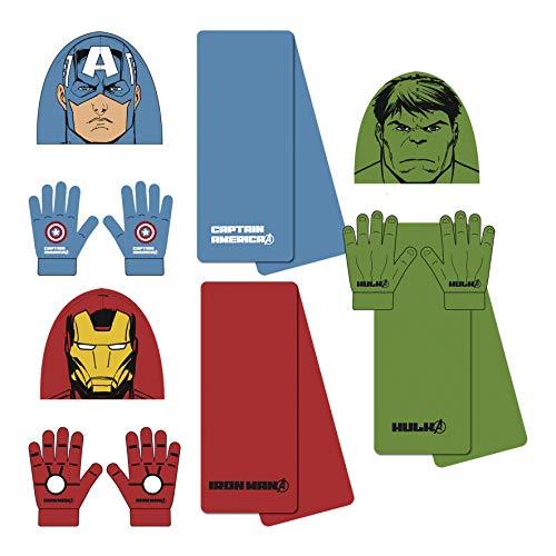 (Marvel Avengers 3tlg. Winterset Kindermütze Kinderschal Kinderhandschuhe Mütze Schal Handschuhe Ironman Hulk Captain America AV9842 (Captain America))