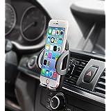 Support Téléphone Voiture Universel Quntis ® Grille d'aération de Voiture Support de Fixation avec Rotation à 360 et Bouton de Déverrouillage et Compatible pour iPhone 7/7 Plus/6S/6s Plus/5S/5C/SE, Samsung Galaxy S7 Edge/S6 Edge, a3, j5, a5 2016, Huawei P9, GPS, MP3 Player etc - GARANTIE A VIE