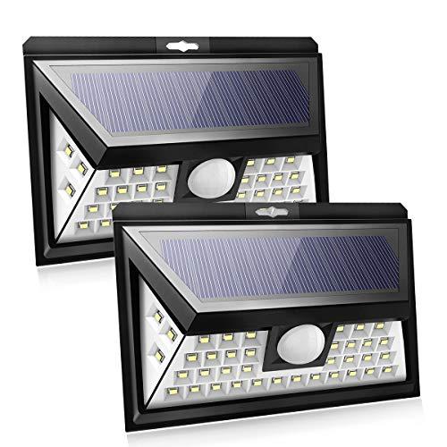 Breite Drei Licht (Solar-Außenbewegungs-Sensor-Licht,40Leds Solaraufladungsumweltschutz-Lichter mit breitem 120 Grad-Öffnungswinkel, drei Beleuchtung-Sensor-Modi, IP 65 wasserdicht für Garten, Yard, Garage (Paket von 2))