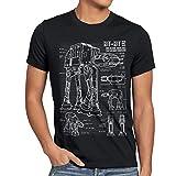 style3 AT-AT Cianotipo Camiseta para hombre T-Shirt fotocalco azul andador, Talla:3XL;Color:Nero