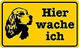 Schild Alu Hier wache ich Hund gelb/schwarz 120x200mm