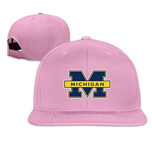 hmkolo Michigan Wolverines Logo Baumwolle Flat Bill Baseball Snapback Cap Hat Unisex, unisex, rose -