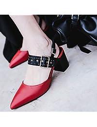 Jqdyl Tacones Zapatos individuales para mujeres Primavera verano Zapatos individuales para mujeres Talones Talón...