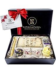 Bombes de bain bio « Oasis des Sens » / Haute qualité / Pralines de bain fabriquées à la main / Coffret cadeau premium avec ruban en satin + noeud en satin / Idée cadeau vegan pour femmes